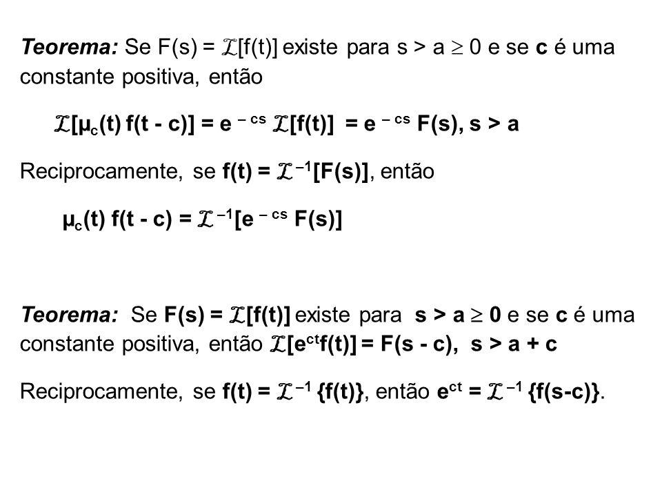 Teorema: Se F(s) = L[f(t)] existe para s > a  0 e se c é uma constante positiva, então